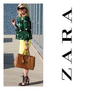 ZARA BASIC Palm Print Blazer Jacket